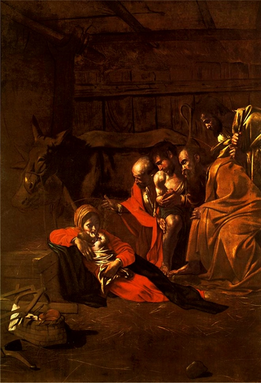 Caravaggio, Adoration des bergers dans images sacrée Caravaggio_-_Adorazione_dei_pastori
