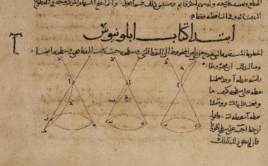 Diagram from Apollonius' Conics, in a 9th-century Arabic translation Conica of Apollonius of Perga fol. 6b-7a DETAIL.jpg