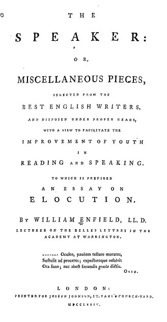 Title page from the first edition of ''The Speaker''