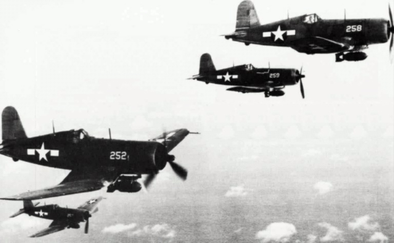 USMC F4u-1s in 1944 photo by USN - U.S. Navy Naval Aviation News July/August 1984