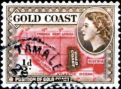 Postage stamp with portrait of Queen Elizabeth II, 1953 Gold Coast Stamp Elizabeth 1953 1/2 d.jpg