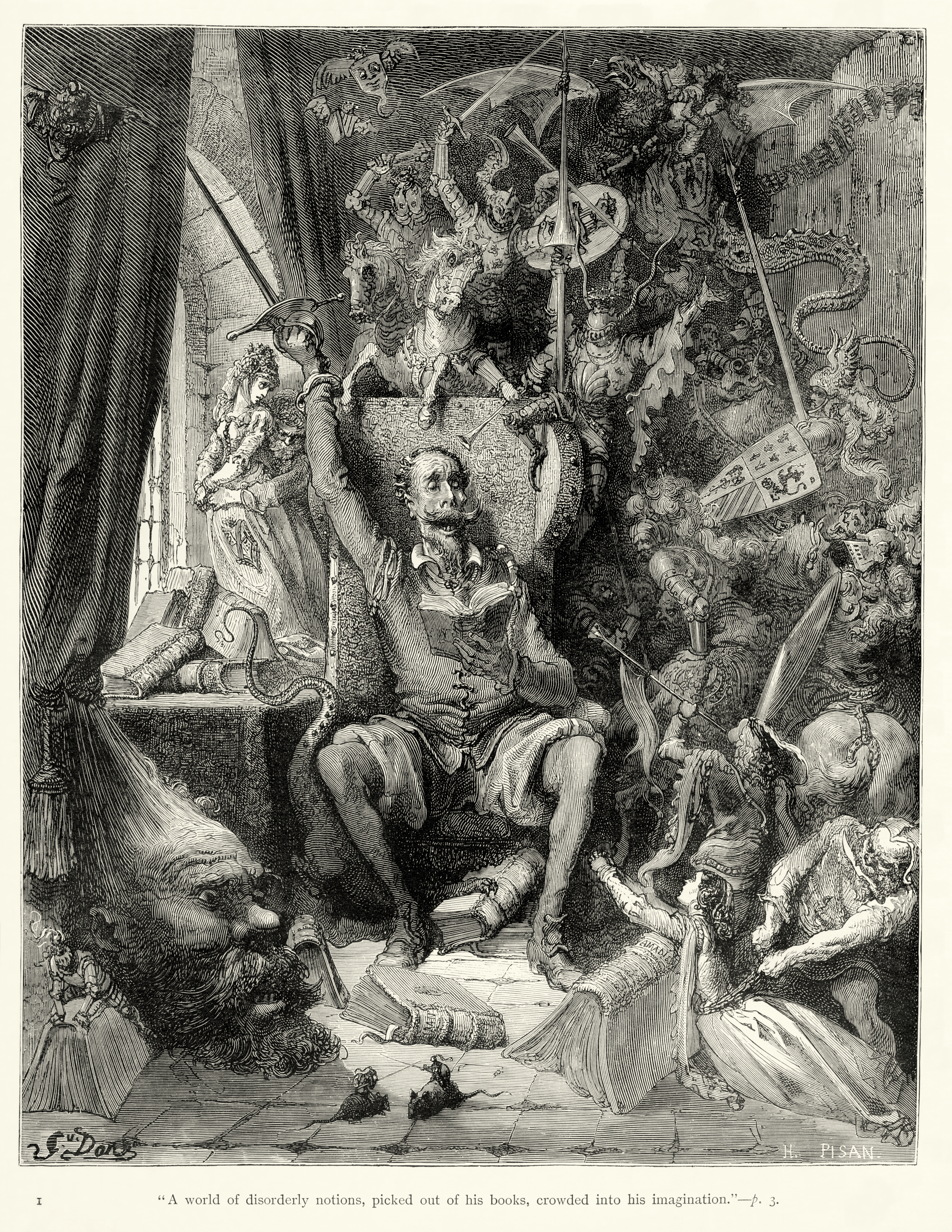 don quixote don quixote goes mad from his reading of books of chivalry engraving by gustave doratildecopy