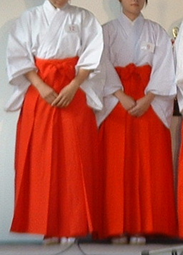 Two Miko wearing hakama