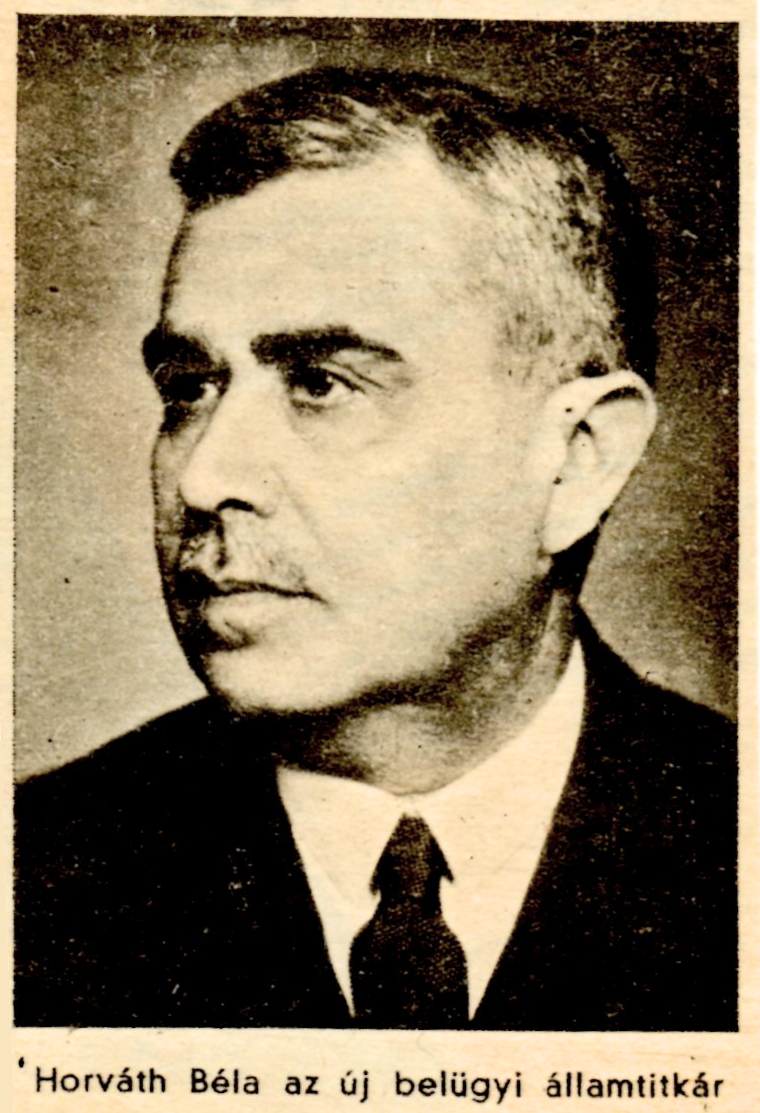 Photograph from 1944 news article reporting Dr. Béla Horváth's appointment as acting Interior Minister of Hungary