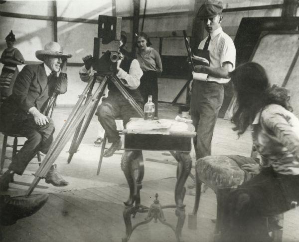 L-R: D.W. Griffith, cameraman G. W.