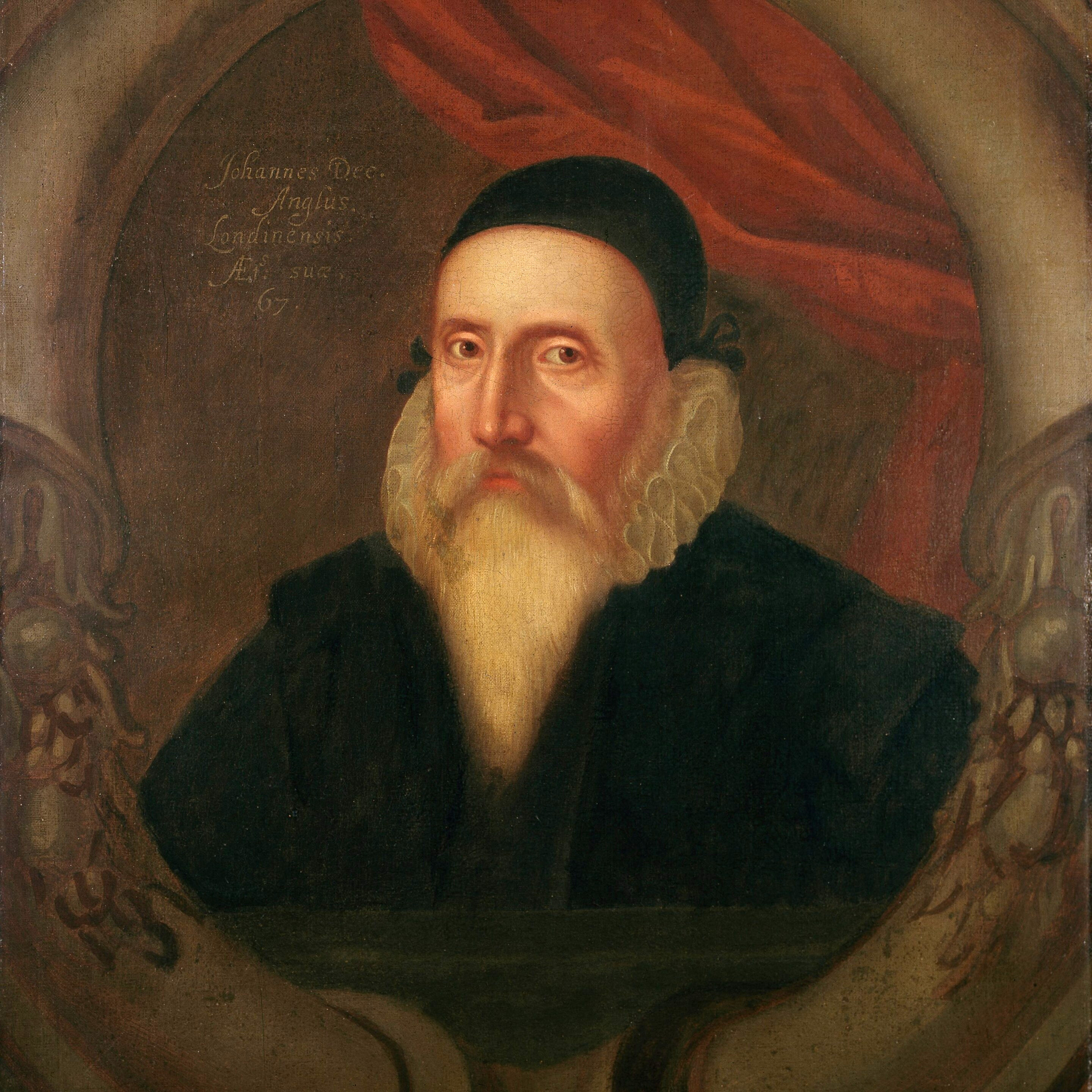 A 16th-century portrait by<br />an unknown artist.<ref>According to Charlotte Fell-Smith, this portrait was painted when Dee was 67. It belonged to his grandson Rowland Dee and later to [[Elias Ashmole]], who left it to Oxford University.</ref>