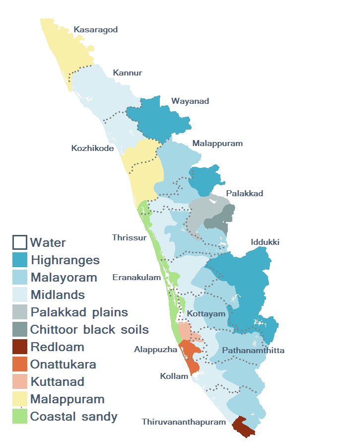 india together: kerala map showing showing cities, towns, major