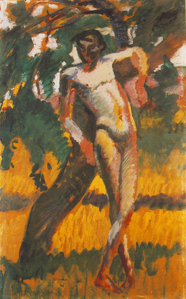 nude boy in tree