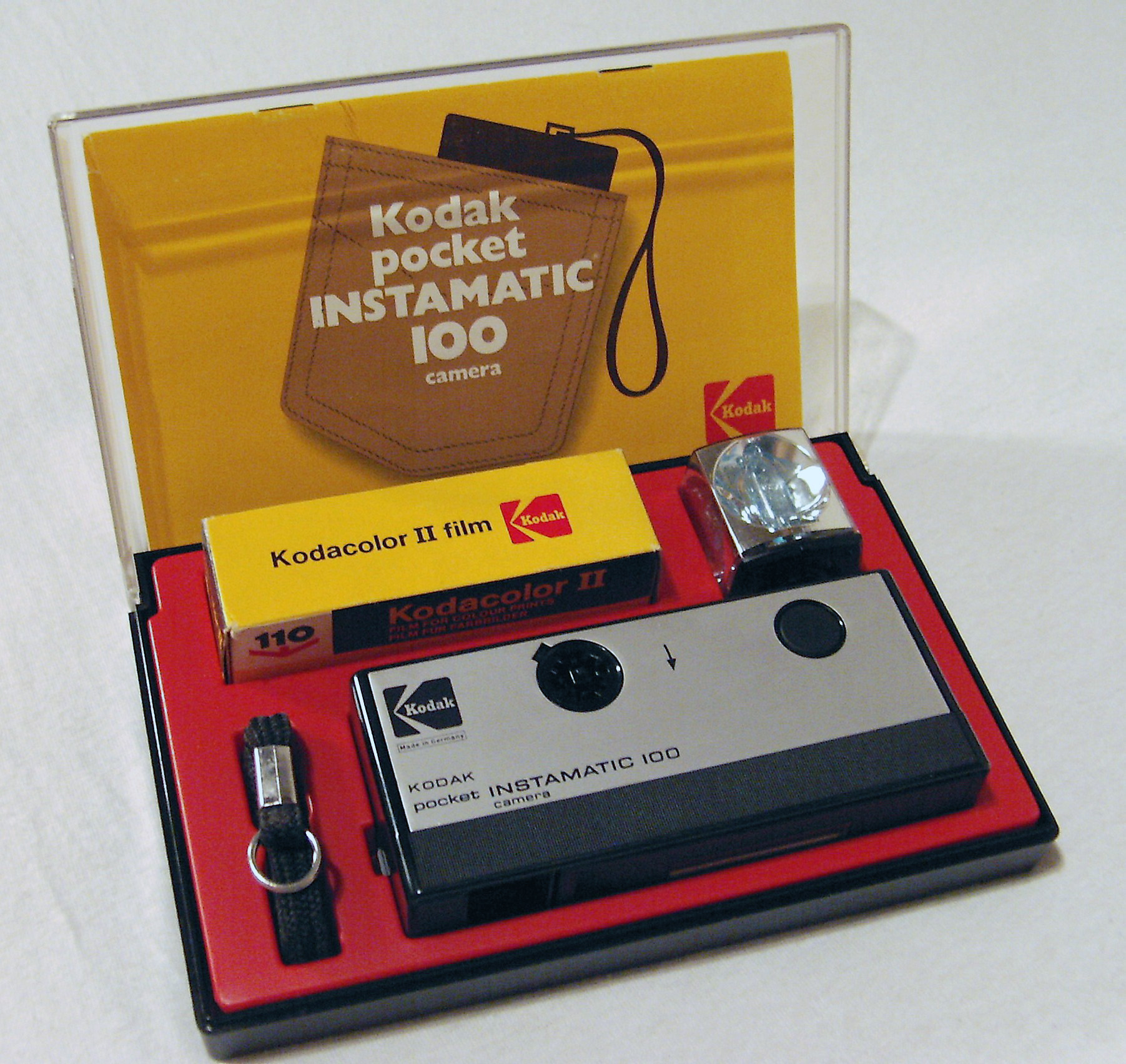Photo of Kodak Pocket Instamatic 100, First camera for the 'Pocket Instamatic'-Film. Presented in this box on the 'Photokina' fair in Germany, 1972