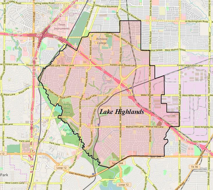 Park Cities Dallas Map.Lake Highlands Wikipedia