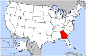 Mapa ning United States with Georgia highlighted