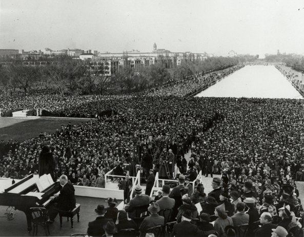 Marian Anderson singing at the Lincoln Memorial in 1939.