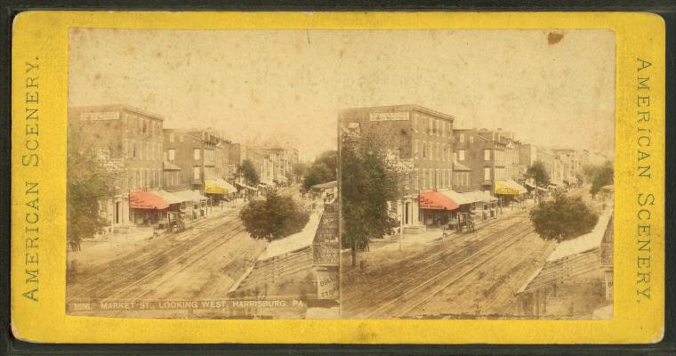Market St., looking west, Harrisburg, Pa, from Robert N. Dennis collection of stereoscopic views