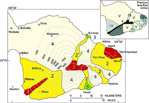 Lava Flow Hazard map of Haleakala. The Maui Hazard Zone numbers are two less than the equivalent Hawai`i Hazard Zone numbers. Maui lava hazard map.jpg