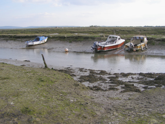 Moored boats on the Exbury River - geograph.org.uk - 178813