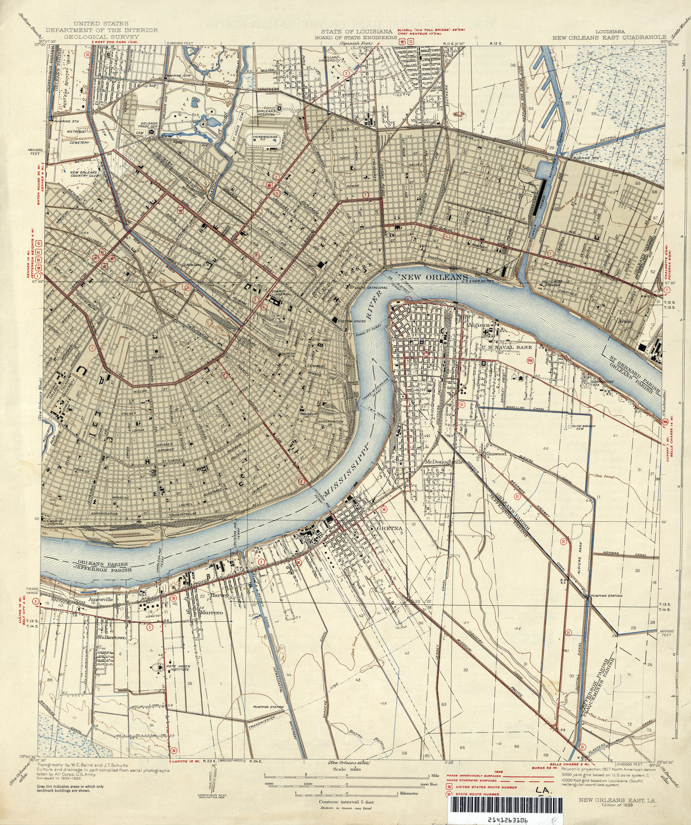 File:New Orleans Section and West Bank 1935 Map.jpg - Wikimedia Commons