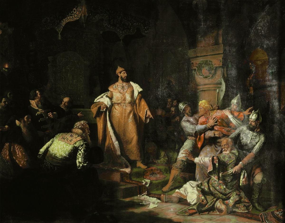 """Tsar Ivan III 1440-1505 Tearing the Deed of Tatar Khan"""". Paintng by Nikolay Shustov, 1862."""