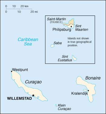 World Factbook Map of Netherlands Antilles