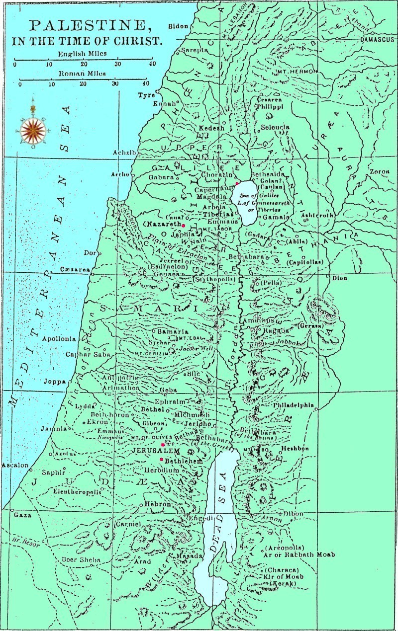 Biblical Stus/Christianity/Major events and important ... on dead sea map, golgotha map, mount of beatitudes map, bethany map, sea of tiberias map, mount of olives map, gethsemane map, abilene map, capernaum map,