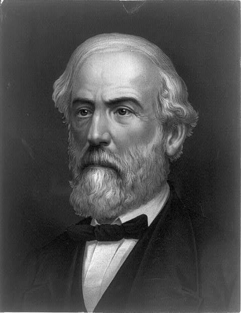 A close-up ofGeneral Robert E. Lee's face