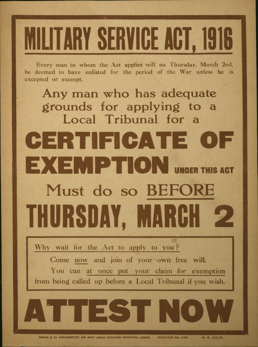British conscription poster for the Military Service Act 1916