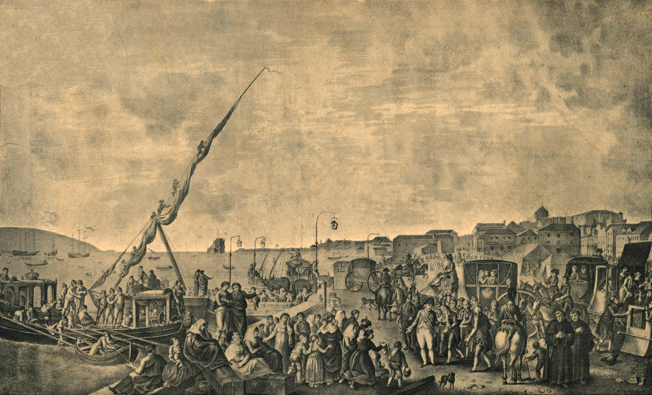 Departure of the Portuguese royal family from the docks of Belém, Portugal.