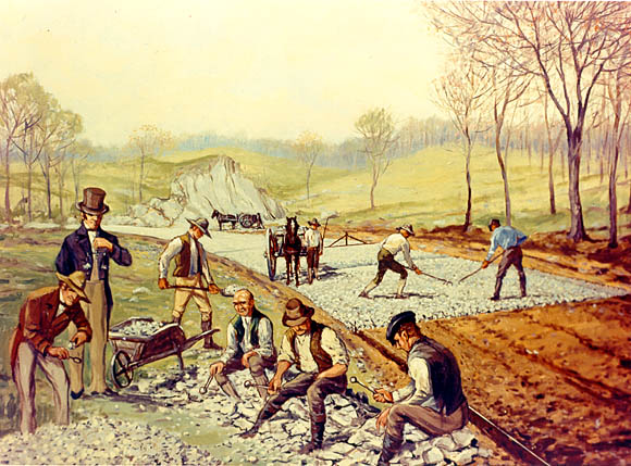 "Construction of the first macadamized road in the United States (1823). In the foreground, workers are breaking stones ""so as not to exceed 6 ounces [170 g] in weight or to pass a two-inch [5 cm] ring"". Rakeman - First American Macadam Road.jpg"