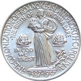 Reverse of a commemorative 1937 US half dollar coin, depicting Eleanor and Virginia Dare Roanoke colony half dollar commemorative reverse.jpg