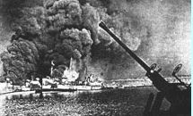 SS John Harvey on fire 12-2-1943, Italian port of Bari.JPG