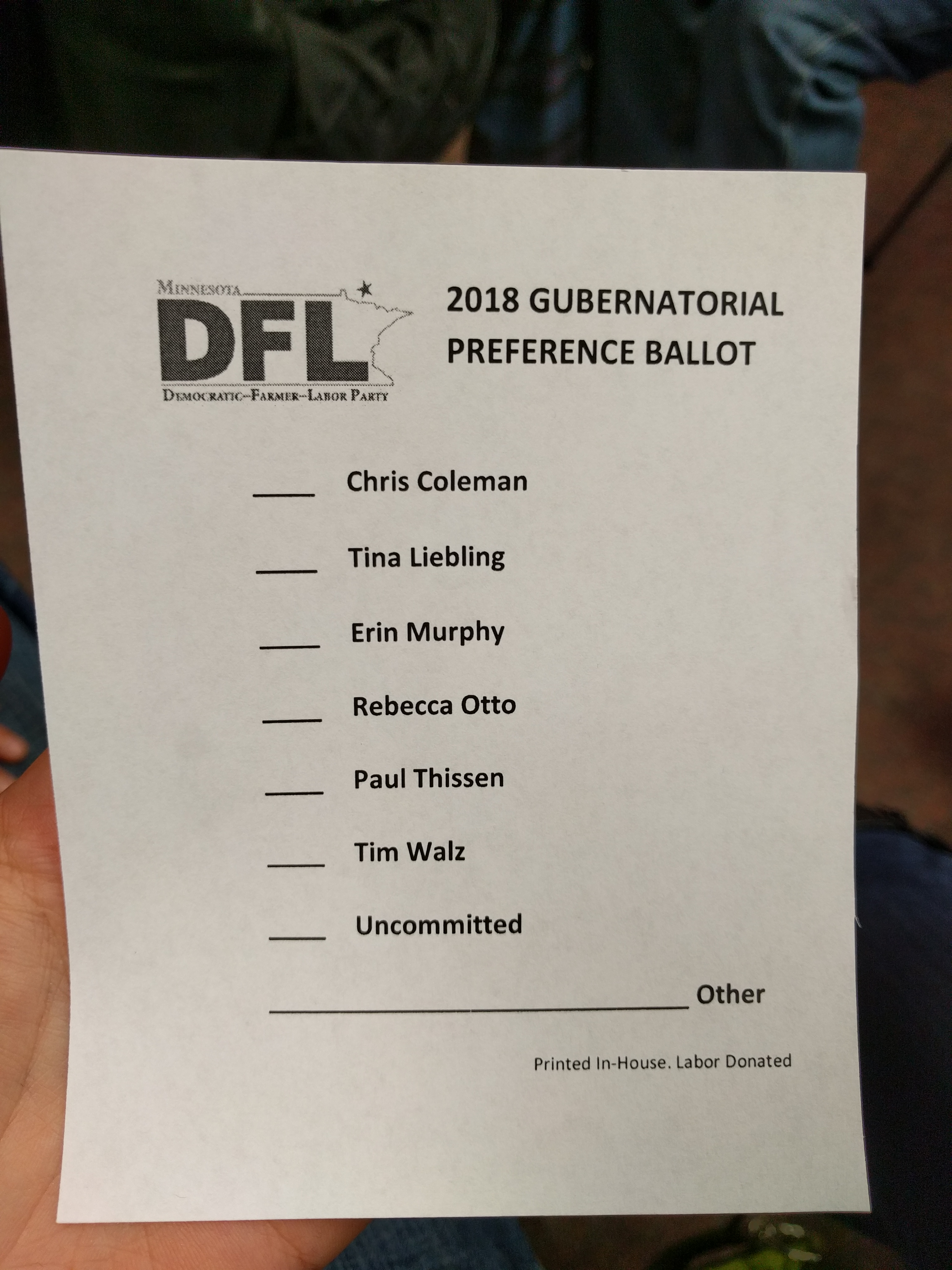 File:Straw poll ballot at the Minnesota DFL February 2018