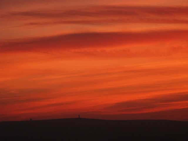 File:Sunset over the Allendale lead smelting flue chimneys - geograph.org.uk - 987419.jpg