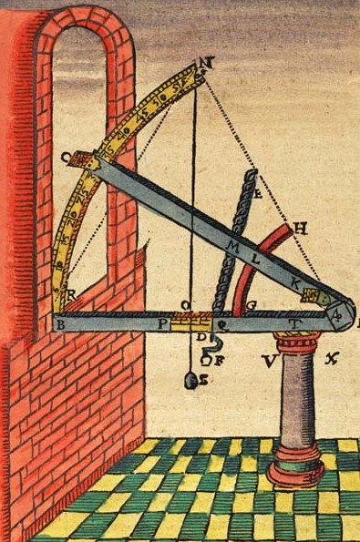 Astronomy became more accurate after Tycho Brahe devised his scientific instruments for measuring angles between two celestial bodies, before the invention of the telescope. Brahe's observations were the basis for Kepler's laws. Tycho instrument sextant mounting 19.jpg