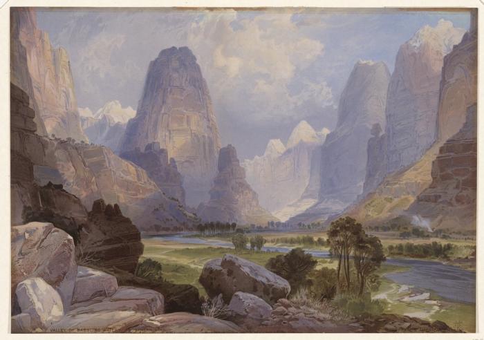 File:Valley of Babbling Waters Southern Utah by Thomas Moran 1876.jpeg