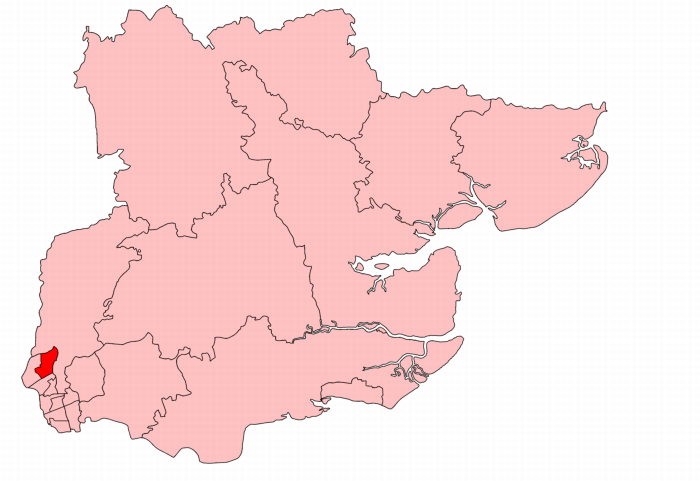 Walthamstow East in Essex, showing boundaries used from 1918 to 1950.