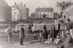 Watervliet Shaker village, Albany, New York, circa 1870, Courtesy of Shaker Heritage Society