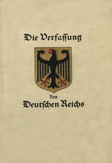 Cover of the Weimar Constitution Weimar Constitution.jpg