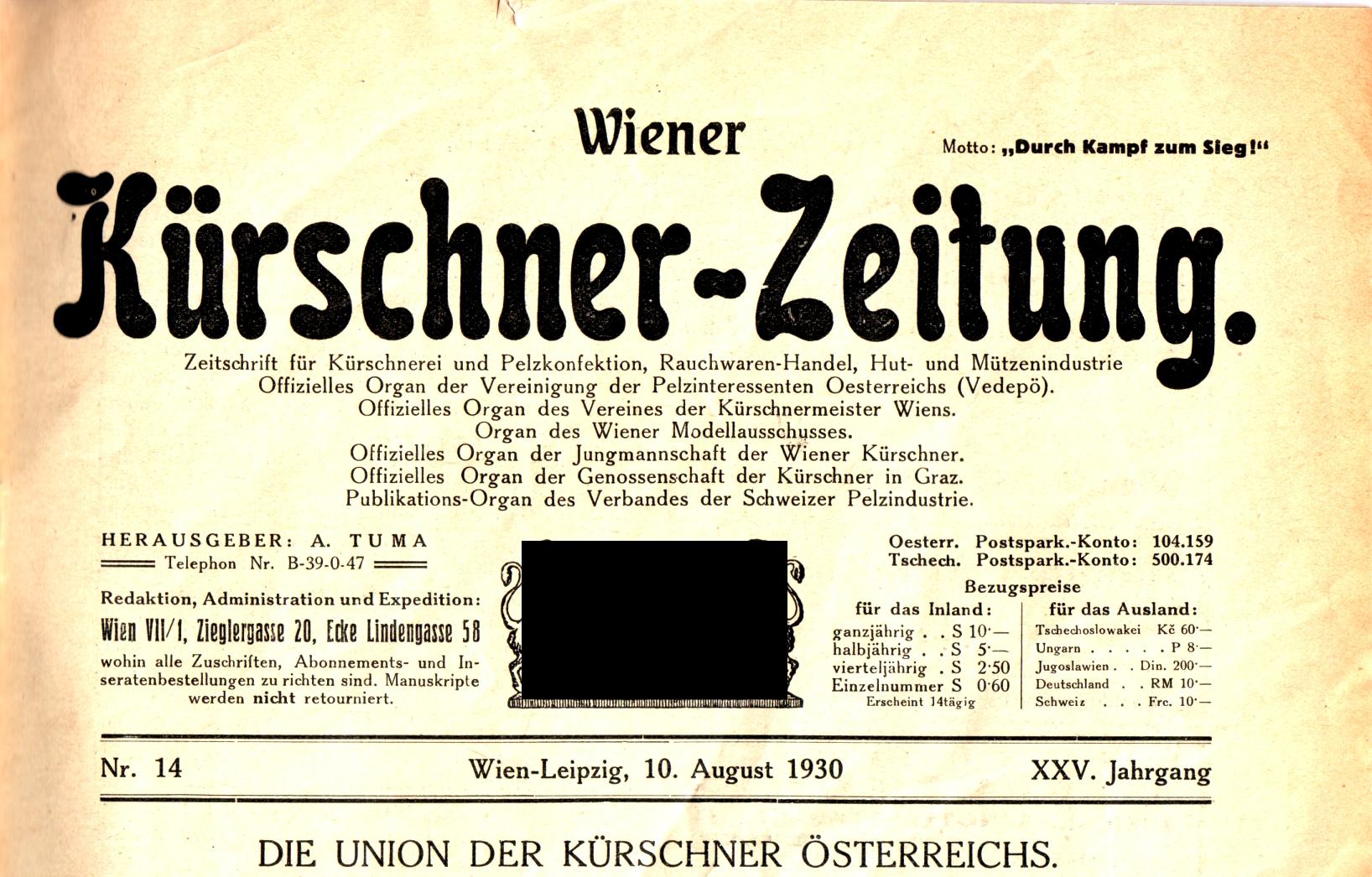 File:Wiener Kürschner-Zeitung, an Austrian furriers journal 1930-08 ...