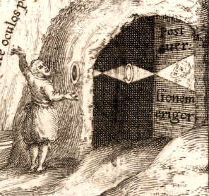 Detail of Scheiner's Oculus hoc est (1619) frontispiece with a camera obscura's projected image reverted by a lens. 1619 Scheiner - Oculus hoc est (frontispiece).jpg