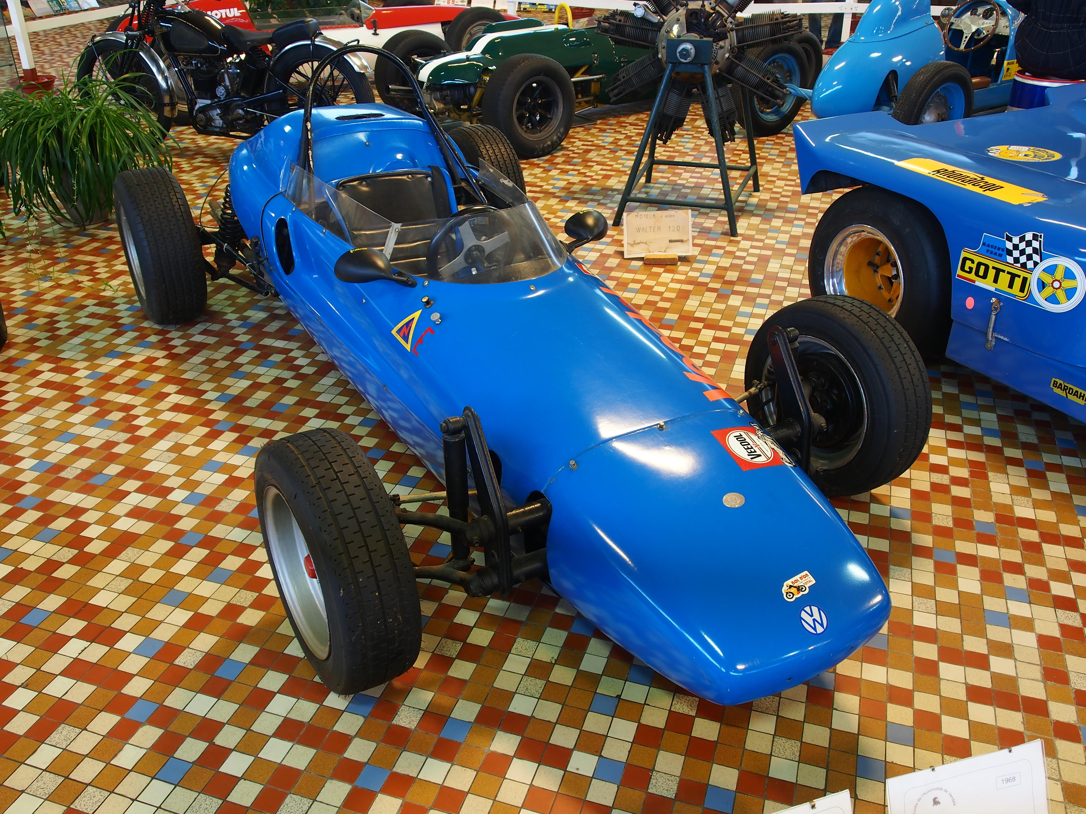 File:1968 Bora, Fiat 4cyl Volkswagen engine Formula 5, at the Musée Automobile de Vendée pic-3 ...