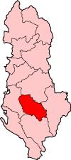 Bản đồ thể hiện vị trí của đô thị ở Skrapar, Albania