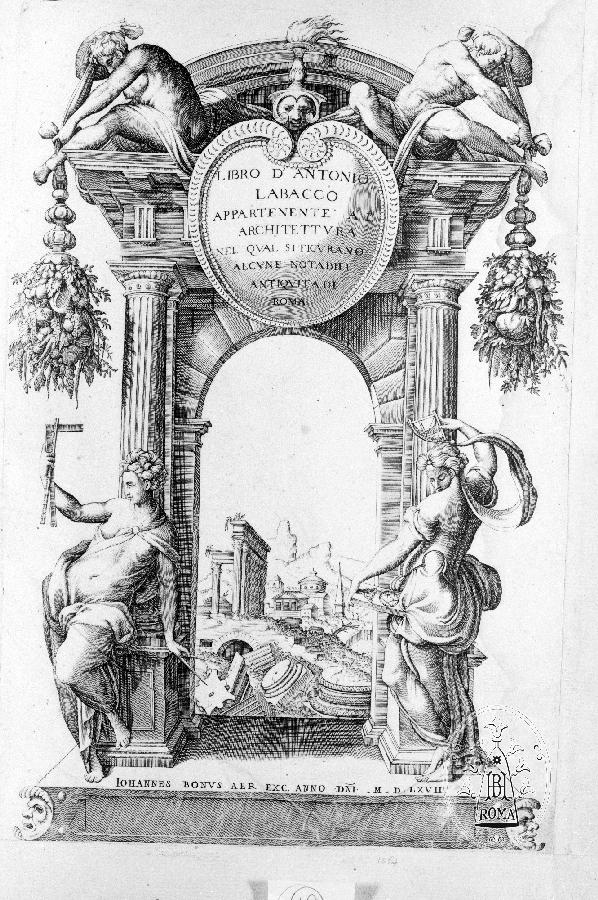 Title page of Labacco's'' Libro appartenente a l'architettura''.