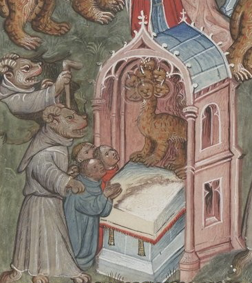 Apocalypse flamande - BNF Néerl3 f.14r Dragon, beast from the sea and false prophet - сrop4