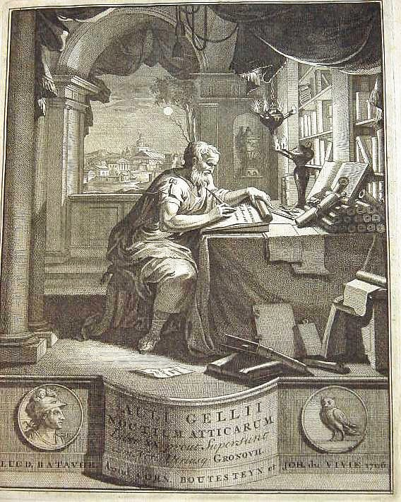 Frontispiece to a 1706 Latin edition of the ''{{Interlanguage link multi|Attic Nights|fr|3=Nuits attiques}}'' by [[Jakob Gronovius]]