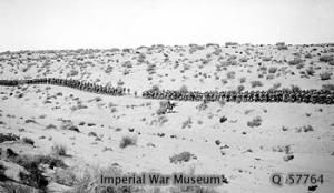 British infantry marching on the wire road across the desert between Bir el Mazar and Bardawil in February 1917 British infantry march through the desert 1917 IWM photoQ 057764.jpg