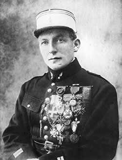 Charles Nungesser wearing his numerous military decorations.