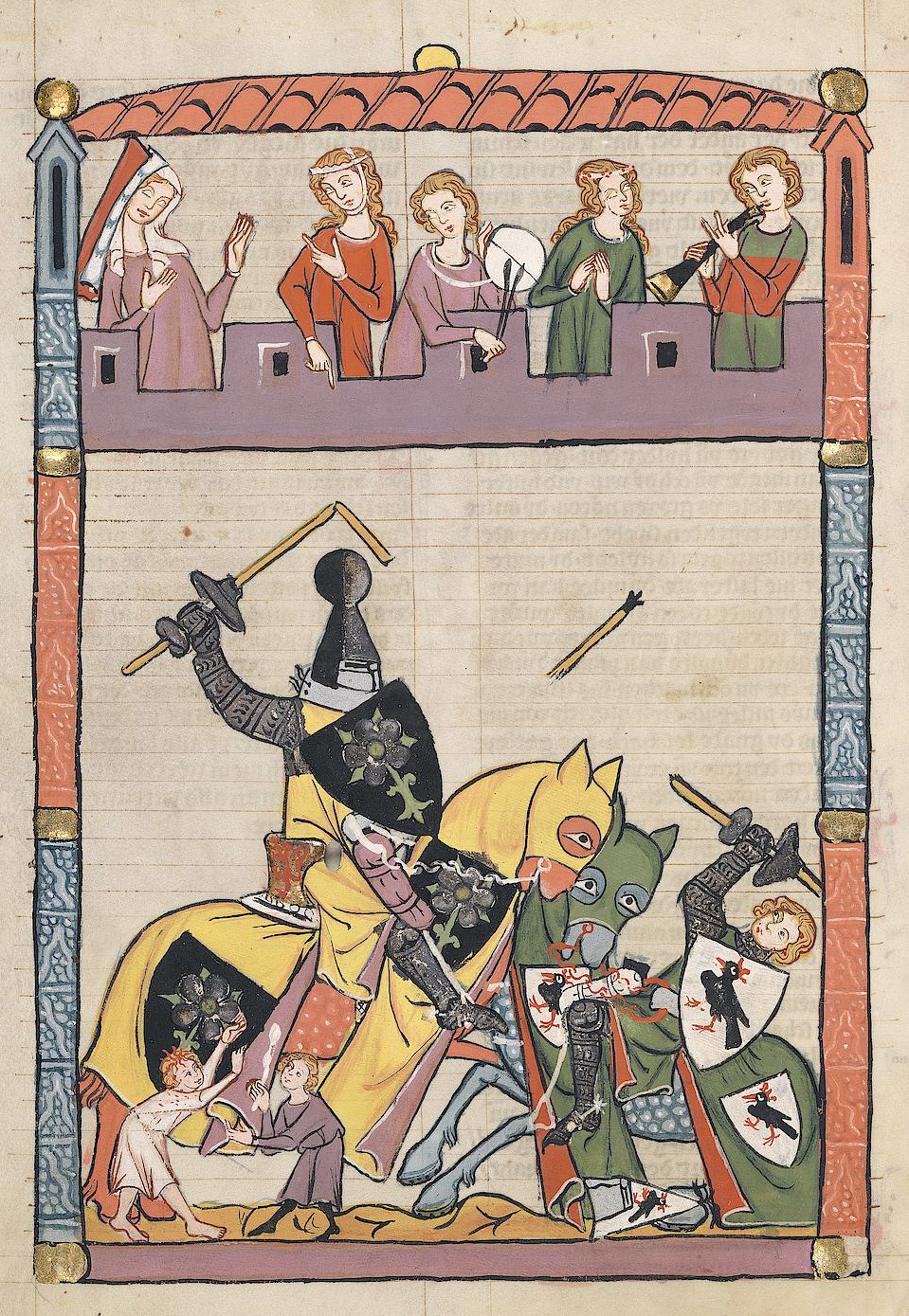 Tournament before an audience and musicians (14th century)