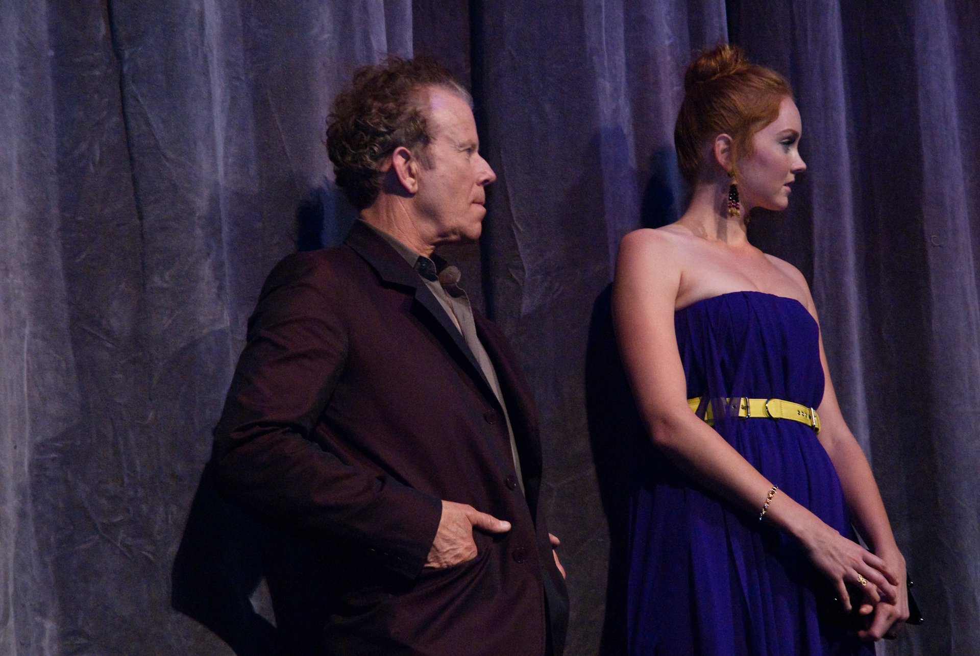 Tom Waits y Lily Cole en el estreno de la película The Imaginarium of Doctor Parnassus.