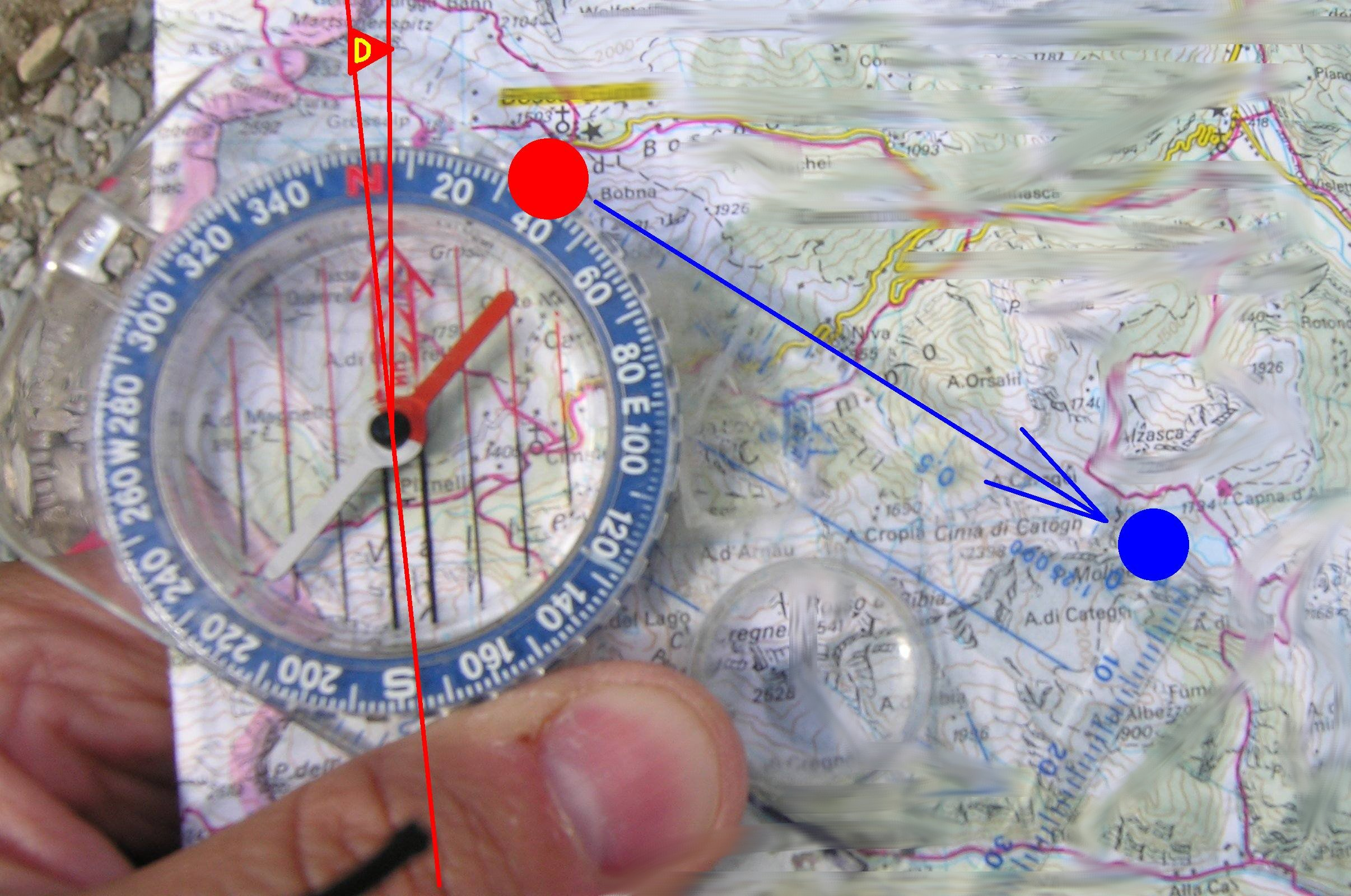 Orienteering compass and map