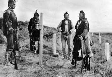 Former U.S. Army Crow Scouts visiting the Little Bighorn battlefield, circa 1913
