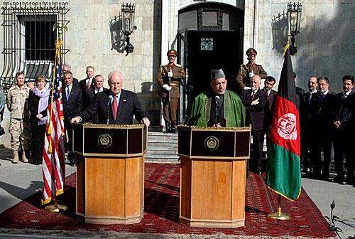 dick cheney wiki. File:Dick Cheney and Hamid Karzai in 2004.jpg. From Wikipedia